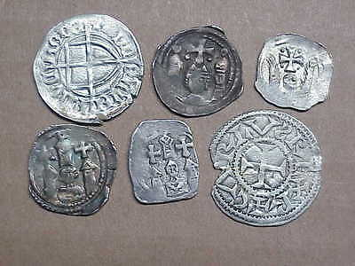 #504 Lot 6 Ancient Byzantine Knights Templer Cross Silver Coins 1000 A.d. Mediev