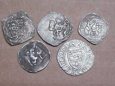 #520 Lot 5 Ancient Solid Silver Coins Byzantine Knights Templer Medieval 1000 A.