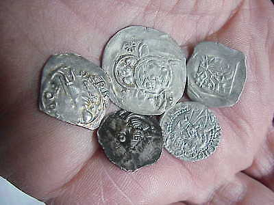 #508 Lot 5 Ancient Solid Silver Coins Byzantine Knights Templer Medieval 1000 A.