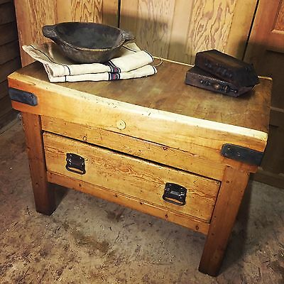 Industrial Butchers Block Kitchen Island Vintage Antique Chopping Block Table