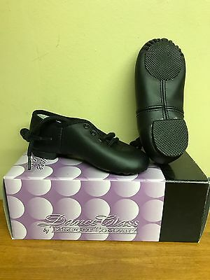 New Dance Class Trimfoot Lace Up Jazz Dance Shoe Black Childs size 7 Ships Free