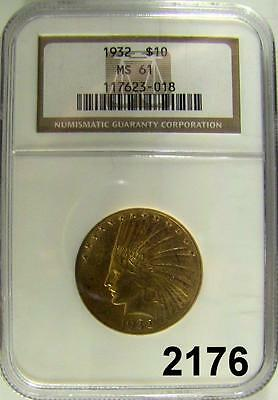 1932 $10. Gold Indian Ngc Ms 61 Flashy Luster! Half Oz. Gold #2176