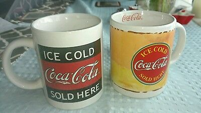 Ice Cold Coca Cola Sold Here Advertising Gibson Collectible Lot of 2 Coffee Mugs