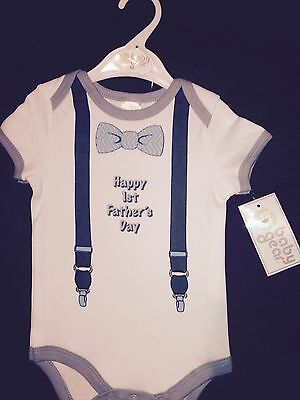 Baby Boy 1st Father's Day Onesie NWT New DAD 1st Fathers Day Dad & Son