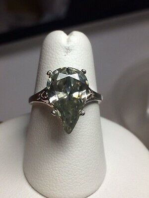 Fabulous Large 3.74ct Pear Cut Moissanite Sterling Silver Ring