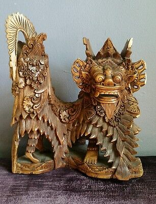 Vintage Detailed Chinese Wood Carving Dragon Sculpture Figure