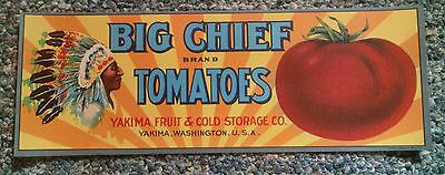 CRATE LABEL VINTAGE NATIVE AMERICAN TOMATOES INDIAN YAKIMA BIG CHIEF 1920's