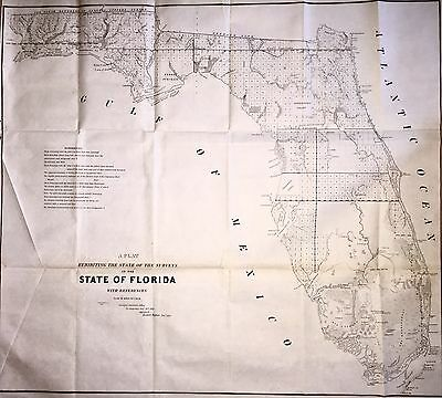 1845 Large Map of Florida, Newly Admitted To The United States