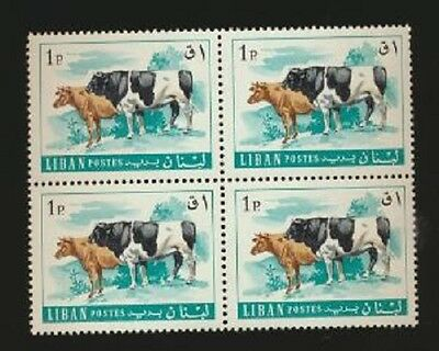 Cattle on Stamps Lebanon #454 Mint NH Block of 4  Worth $40.00 Scott Retail Val