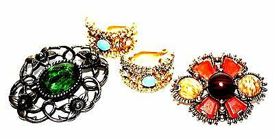 Collection Of Fine Vintage Costume Jewellery Earrings and Brooches High Quality