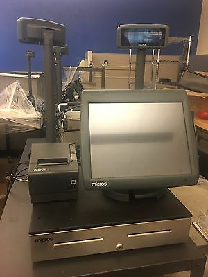 MICROS Workstation 5A POS System Unit: Drawer, Monitor w Stand, Scanner, Printer