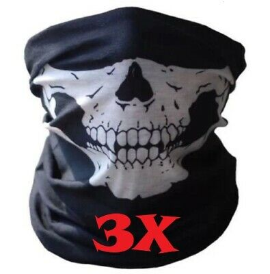 3X Skull Mask Bike Motorcycle Winter Scarf Neck Warmer Skeleton Snow Sport Ski