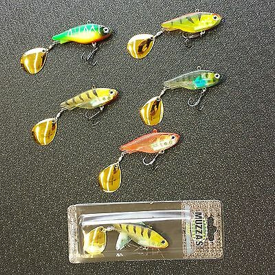 5 x 62mm New Soft Plastic Vibe Buzz tail, Redfin Bass Yella Belly. Muzzas lures