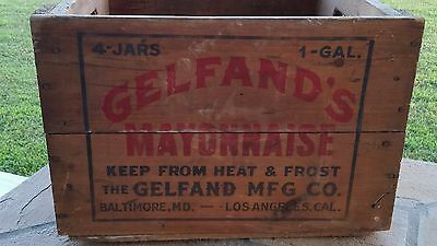 Vintage Gelfand's Mayonnaise Quality Kitchen Fresh Wooden Crate Baltimore La