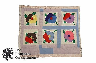 Vintage Handmade Baby Infant Quilt Cotton Patchwork Floral Pansies Polka Dots