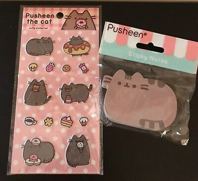 Pusheen the Cat w/ Snack Foods Puffy Sticker Sheet & Sticky Note Pad Set!