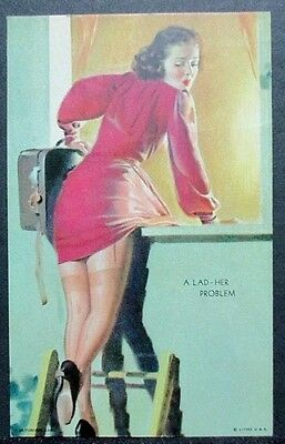 1941 Mutoscope Card 'a Lad-Her Problem' All American Girls Near Mint