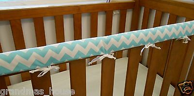 Cot Rail Cover Crib Teething Pad  Aqua Chevron SET OF TWO