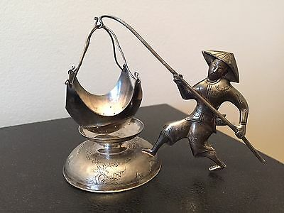 Vintage Fisherman Figure Silver 900 Tea Leaves Infusion Strainer Vietnam