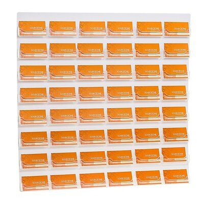 Business Card Display Holder Wall 48-Pocket Organizer Mount Office Acrylic Cards