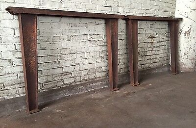 Vintage CAST IRON Industrial TABLE DESK Legs Machine Age RUST BASE Chippy Patina