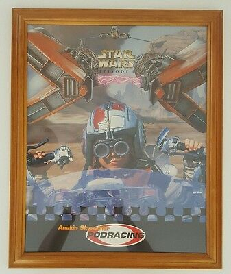 Star Wars Podracing Anakin Framed Vintage Sci Fi Movie Man Cave Poster Print