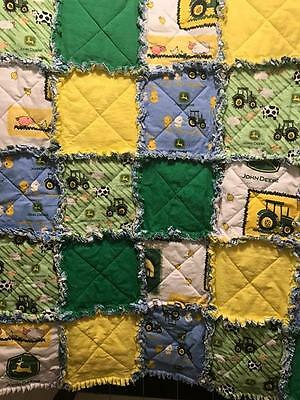 John Deere Baby Rag Quilt handmade great shower gift