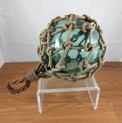 VTG Large Hand Blown Sea Green Glass Netting Buoy Ball Float Nautical with Rope