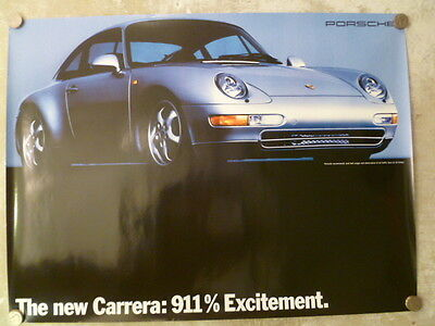 """1993 Porsche 911 Coupe """"911% Excitement"""" Showroom Advertising Poster RARE!! L@@K"""