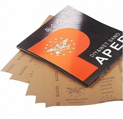 """9"""" x 11"""" Wet and Dry Sandpaper 2500 3000 5000 7000 10000 Grit Abrasive Paper New"""
