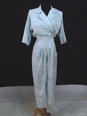 Vtg 80s Cotton Jumpsuit Blue and White abstract Floral S M