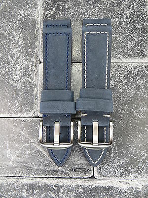 24mm Genuine Assolutamente Leather Strap Tang Buckle Blue Watch Band PANERAI BR