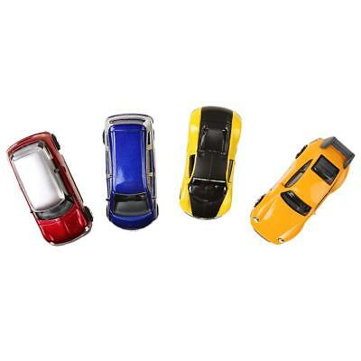 Set/4pcs 1:64 S Scale DIY Painted Model Cars Layout Train Scenery Accessory