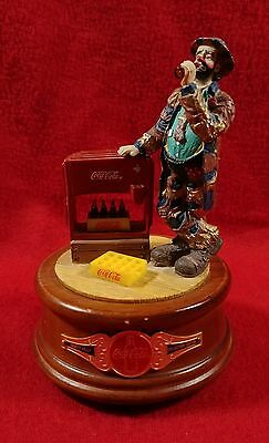 """Emmett Kelly Coca Cola 1995 """"At the Red Cooler"""" Figurine/Music Box"""