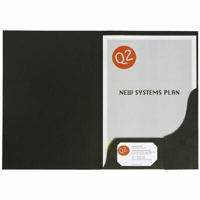 Marbig A4 Presentation Folder Leathergrain Black - 20 Pack