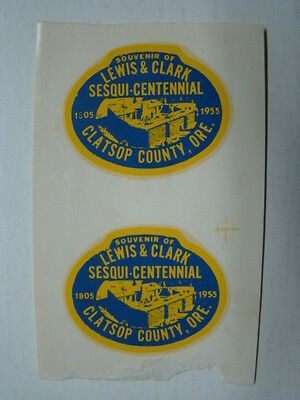 (2) Lewis & Clark Sesqui-Centennial Clatsop County OR Window Decals 1805-1955