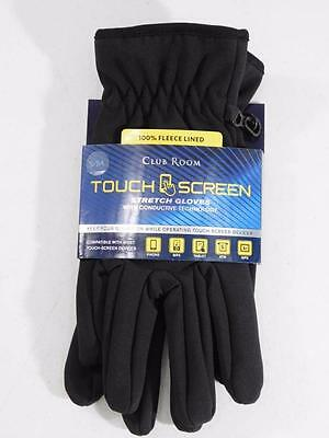 Club Room Men's Gloves Touch Screen Black Gloves 100% Fleece Lined NWT Size S/M