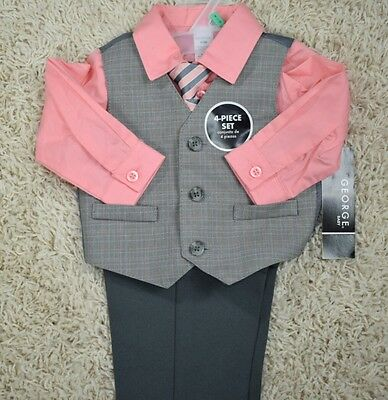 New Baby Boy 4 Piece Suit Set Peachy Coral and Charcoal