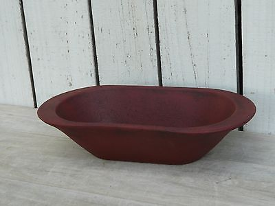 Primitive country wooden burgundy painted bread pan farmhouse kitchen home decor