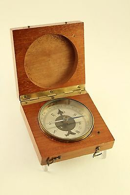 Vtg Military Houlliot Marching Pocket Compass Tool Hinged Wood Case France Made
