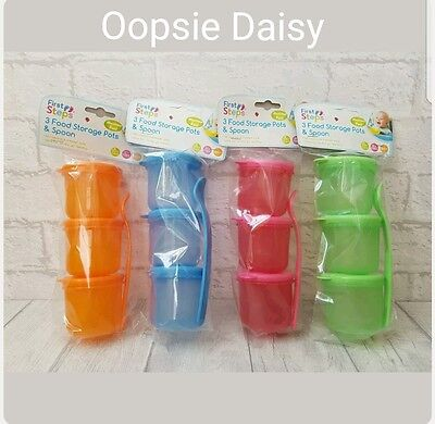 First Steps Set of 3 Food Storage Pots with Spoon - Travel Pots Baby Feeding