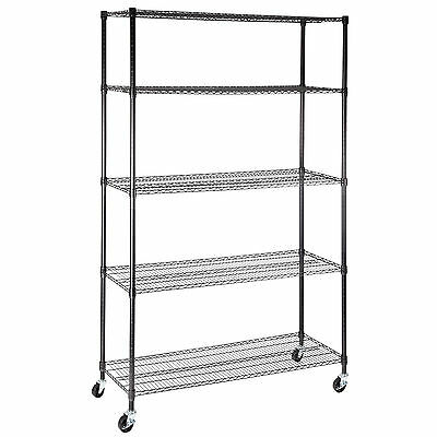 "Heavy Duty 5 Adjustable 82""x48""x18"" Tier Layer Wire Shelving Rack Steel Shelf"
