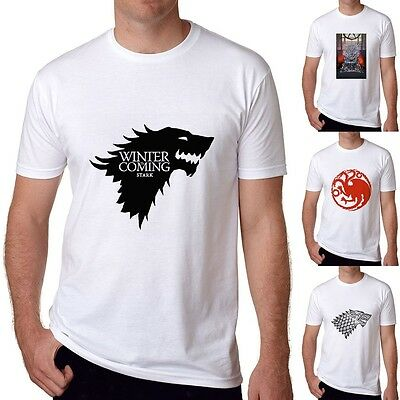 2017 Game of Thrones Ice Wolf White T-shirts John Snow Short Sleeve top Tee