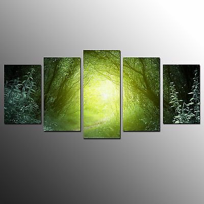 FRAMED Large Landscape Canvas Art Prints Green Light  Oil Painting Wall Art-5pcs