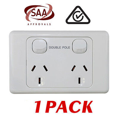 1 x Double 10AMP Power Point GPO - DOUBLE POLE - White Electrical  - SAA