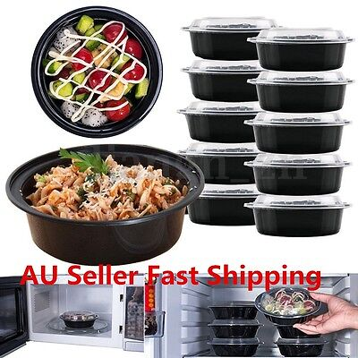 10Pcs Safe Microwave Plastic Meal Prep Container Takeaway Lunch Box Food Storage