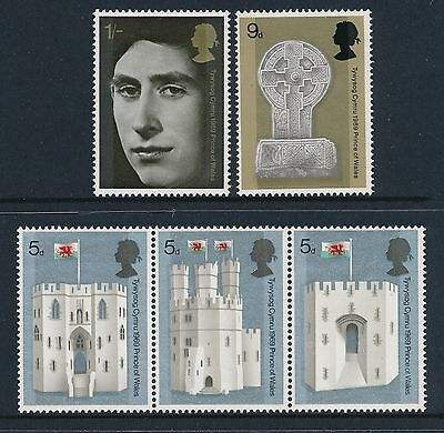 1969 Gb Price Of Wales Investiture Set Of 5 Fine Mint Mnh Sg802-Sg806