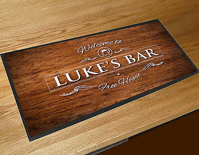 Personalised Wood Effect Pint Beer Label bar runner Pubs & Cocktail Bars Bar Mat