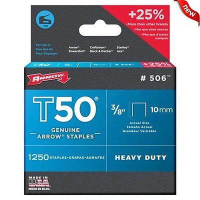 1250 PACK Arrow Fastener 506 Genuine T50 3/8-Inch Staples for Stapler Heavy Duty