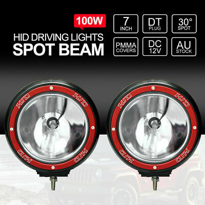 "Pair 7"" inch 100W SPOT HID Driving Lights Xenon Spotlights Off Road 4x4 Work 12V"